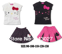 2014 Children summer short-sleeved T-shirt + short dress cartoon KT cat Sets hello kitty dress girls tennis polo kids girls
