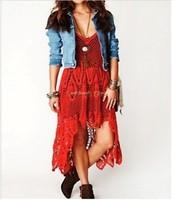 New 2014 hand-made summer Bohemian dress sexy fashion V-neck cross openwork crochet lace dress strap dress casual dress