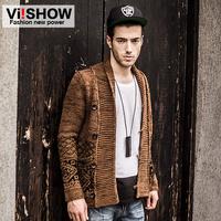 viishow2013Men cardigan jacket  Men's Slim lapel thick cardigans  coat s  xxxl  3xl brown long sleeve brand man autumn winter