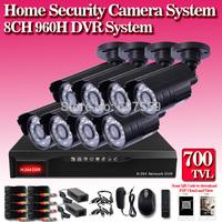 8CH H.264 Surveillance DVR recorder 8PCS Day Night Weatherproof 700TVL Security Camera CCTV System 8ch Kit for DIY CCTV Systems
