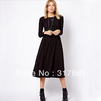 2013 Retro Elegant Womens Long Sleeve O neck Knitting Long Dress S-XL size, four color