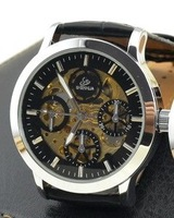 2014 New Fashion Brand Leather Band Women Men Skeleton Automatic Mechanical Watch Men Women Dress Mechanical Wrist Watch