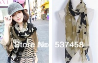Free Shipping cat skull butterfly pentagram Dot Chiffon Scarf Silk Scarf  Chiffon scarves Spring And Autumn Female Scarf Cape