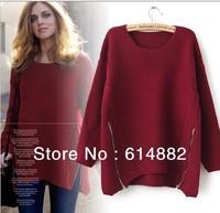 2014 Korean Style Fashion  Women Sweater  Sweater with Zipper Pullover Irregular shape O-neck Sweatershirt  CL218