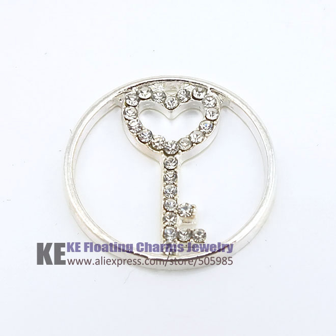 10PCS Floating Charms Origami Owl Rhinestone Large Silver Heart Key window,Locket Jewelry Pendant Free Shipping FDCK007(China (Mainland))