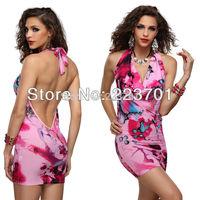 new arrival club wear dress colorful nightclub sexy low cut backless mini halter dress