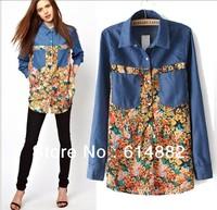Women Blouses Big Sizes Patchwork Chiffon and Denim Shirt Fashion Blouses Clothing  Wholesale CL221