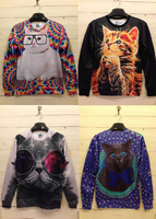 CC826# New 2013 Women & Men Space Print Pullovers Galaxy Sweatshirts Panda/tiger/cat Animal 3D Sweaters Hoodies Top