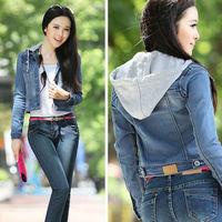 2014 New Fashion Spring Women Blazer Short Design Turn Down Collar Slim Blazer blue Short Jeans Jacket Coat for Women nz102