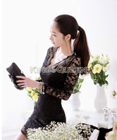 2014 New Autumn Women Sexy V-neck low-cut Long Sleeve Evening Party Lace Mini Bag Hip Dress Black/White 18882