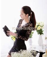 2014 New Autumn Women Sexy V-neck low-cut Long Sleeve Evening Party Lace Mini Bag Hip Dress Black/White 18882