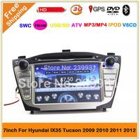 2 din car dvd GPS naigation player  for HYUNDAI ix35 tucson car with vehilce radio GPS  IPOD  Free Map Free Shipping