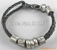 20cm letter charm circle black leather bracelet factory price KL0039