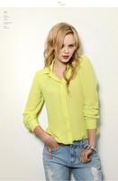 SZ045 New Fashion 2014 Women's Blouses&Shirt Women's long Sleeve Chiffon Yellow,Blue,Red,White,Black Summer Blouses Tops S&Z