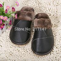 winter genuine leather home bedroom slippers for men, slip-resistant cowhide wool plush slippers indoor