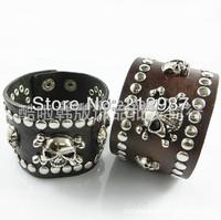 wholesaler popular Rivet  PUNK style ancient skull leather bracelets free shipping KL0055