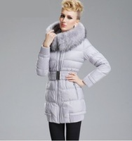 In the new winter and size, long big fur collar warm down jacket women coat 2014