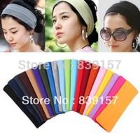 (20pieces/lot) Cheap elastic yoga headbands for women, 20 colors mixed wide headband Free shipping.