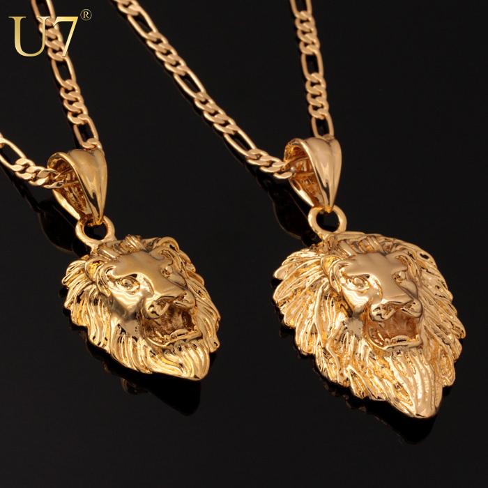 testa di leone uomini gioielli cool regalo spedizione gratuita 2014 alla moda 2 misure opzioni 18k in oro placcato reale squisita collane ciondoli p333