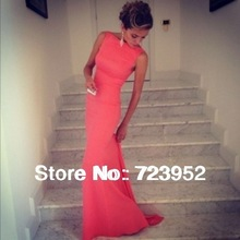 Free Shipping Best Selling Satin Sheath Formfitting High Neck Coral Mermaid Evening Dress Long Backless Wedding Event Dress(China (Mainland))