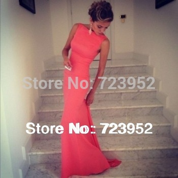 New Sexy Best Selling Long Backless Prom Dresses 2014 Sheath Formfitting High Neck Coral Evening Dress Wedding Event Dress
