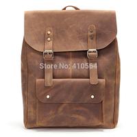 Vintage Casual Fashion Genuine Leather Cowhide Crazy Horse Leather Men Shoulder Bag Backpack Bags Backpacks For Men 0345