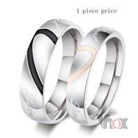 Fashion heart ring his and her promise rings sets stainless steel wedding rings for men and women