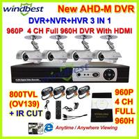 HD 800TVL IR CUT 4CH Full 960H 1080P HDMI H.264 Network 3G/Wifi CCTV DVR Kits 36pcs IR LEDs Camera Surveillance Video System