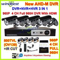 4CH Full 960H 1080P HDMI H.264 3G/Wifi Network CCTV DVR Kit 36pcs IR LEDs HD 800TVL With IR CUT Camera Surveillance Video System