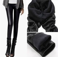 Size M-XXL New Fashion Winter Plus Size Women Thickening Velvet Super Warm Pant Faux Fur TOP Quality Leather PU Stretch Leggings