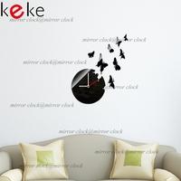 8 PCS Butterfly wall clock Home decoration DIY mirror wall clocks black,FREE SHIPPING