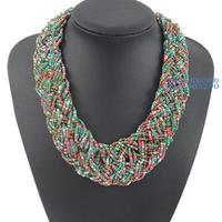 Christmas Gift Women Fashion Jewelry High Quality Handmade Long Statement Bohemian Measle Necklace Free Shipping NB9600