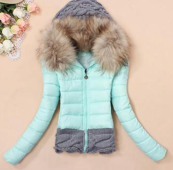 2013 зима утолщение с капюшоном короткий дизайна ватные куртки большой меховой воротник ...