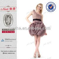 Elegant Real Designer Vertical Ruffled One Shoulder Organza  Knee Length Cocktail Dress