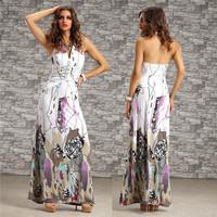 2014 New Summer Dress Women Vestidos De Festa Vintage Peacock Printed Bohemian Long Maxi Dress Casual Beach Dress 4201