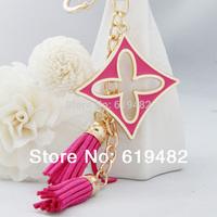 2014 novelty items souvenir Clover chaveiro Leather Tassel Keychain Brand Key Ring key holder women Car Key ferramentasTrinket