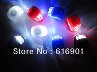4pcs/lot # 2 LED Bicycle Light Lamp Silicone Rear Wheel Waterproof Safety Bike 2LED Light for Free Shipping