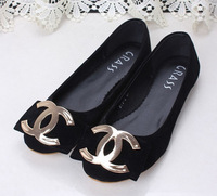 2014 factory direct selling genuine leather fashion flat princess bow black single shoes gentlewomen doll flats in free shiping