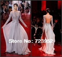 2013 Fall New Elie Saab Beadings Chiffon Backless Long Sleeve Evening Dress