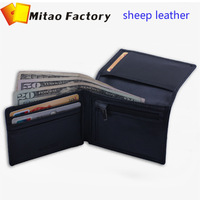 New Fashion Birthday Gift for men Luxury Black Color Sheep Leather Card holder male Wallet With Coin Bag Pocket man Purse