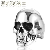 Size 6-15 Wholesale Men's Fashion Punk Smooth Middle Knuckle Paver Skull  Rings 316L Stanless Steel Fashion Jewelry FS BR8001
