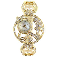 Exclusive Unique Hollow Design Women Wrist Watches Clear White Rhinestones 14K Gold Plating Bridal Accessory Gifts Free Shipping