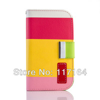 *2013 new arrival* Wallet PU Material Case Skin Cover Shell For Samsung Galaxy S3 mini i8190 G730A  Mobile Phone Accessories