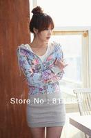 New 2014 Women Hoodies +Skirt +Necklace Zipper Hood Flowers Print Clothes Long Sleeve Striped Dress Casual Slim Plus Size Blue