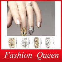 Hot 3d Zircon Rhinestone Nail Decoration,23Designs(10pcs/lot) Hollow Alloy Diamond Full Cover False Nails Tips,Nail Art Jewelry