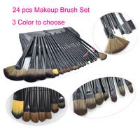 2014 HOT !!  New Arrival 24 pcs Professional Makeup Brush Kit Black Color Makeup Brushes Sets Cosmetic Brushes+ PU Leather Bag