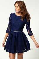 TOP Fashion Sexy Women lady girls V-back Sunflower Lace Skater Dress With Belt - Free Shipping!