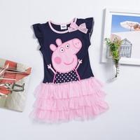 5piece/lots color navy Peppa pig clothing baby girls dress peppa dress children Fashion clothing Kids wear cotton girls dresses