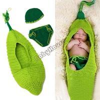 2014 Cute Infant Crochet Knit Clothing Suit Baby Cartoon Newborn Photography Props Beanie Hats Pants Set Dark&Light Green 18827