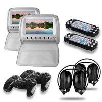 "2x9"" Car Headrest DVD Player with Digital LCD Screen+Game+DVD/USB/SD+FM/IR +2 IR Headphone+2 Joysticks, headrest mount dvd, grey"